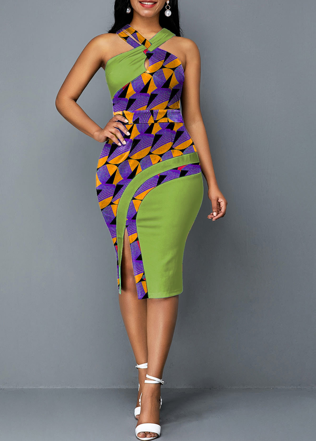 Printed Green Cross Halter Side Slit Dress