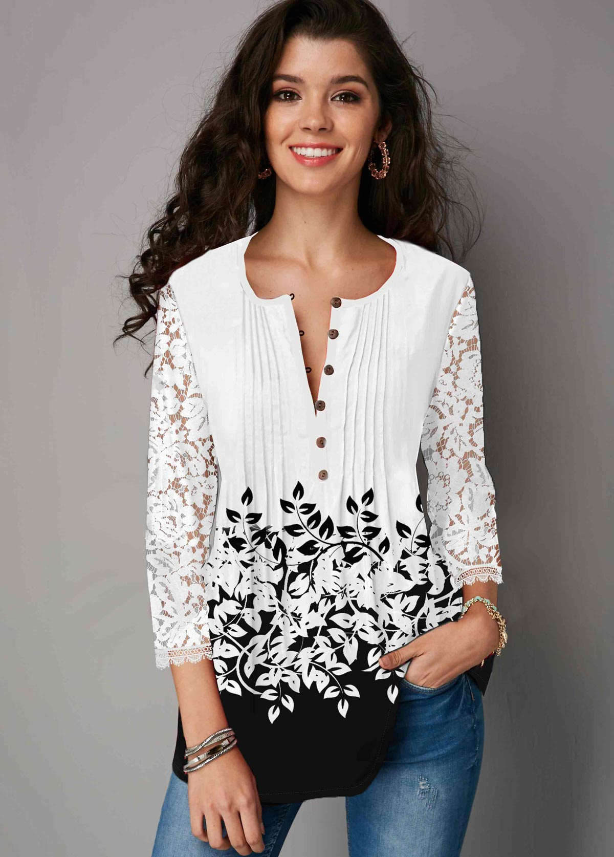Lace Panel Button Up Color Block Blouse