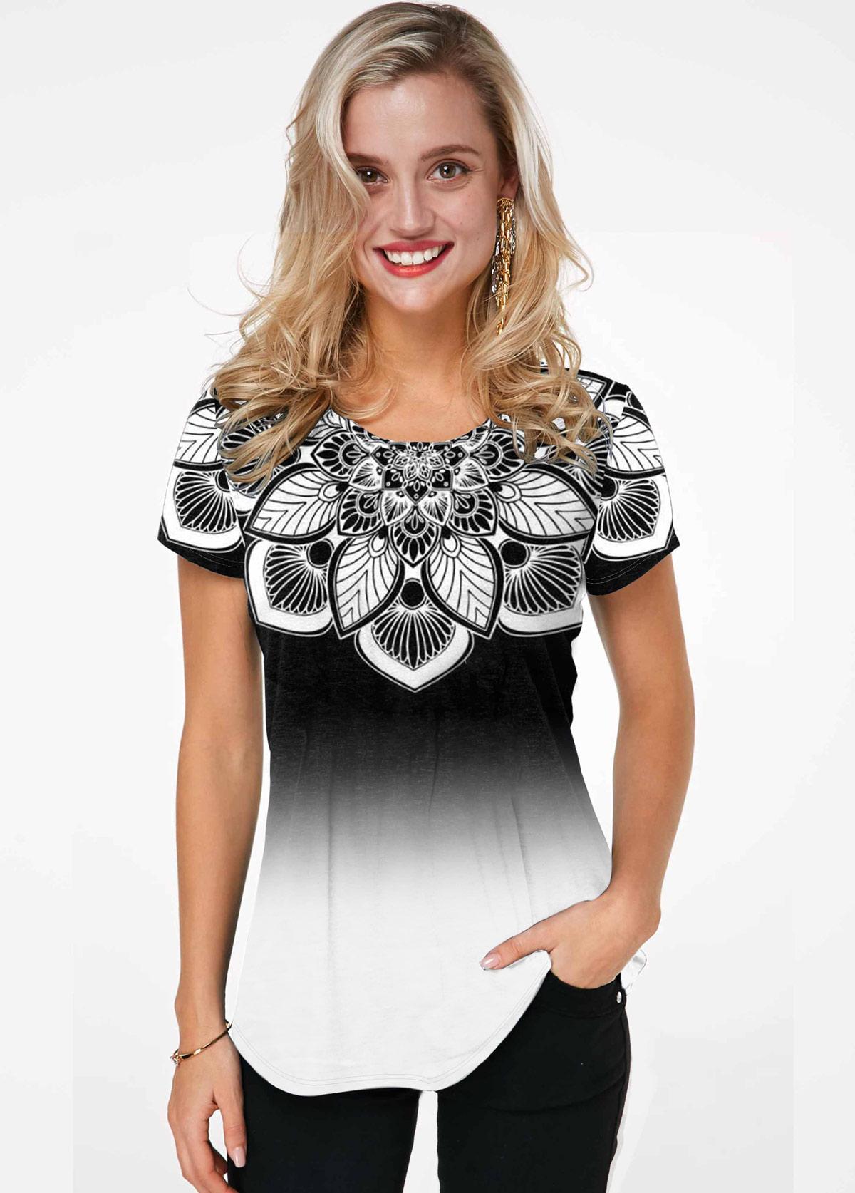 Gradient Flower Print Short Sleeve T Shirt