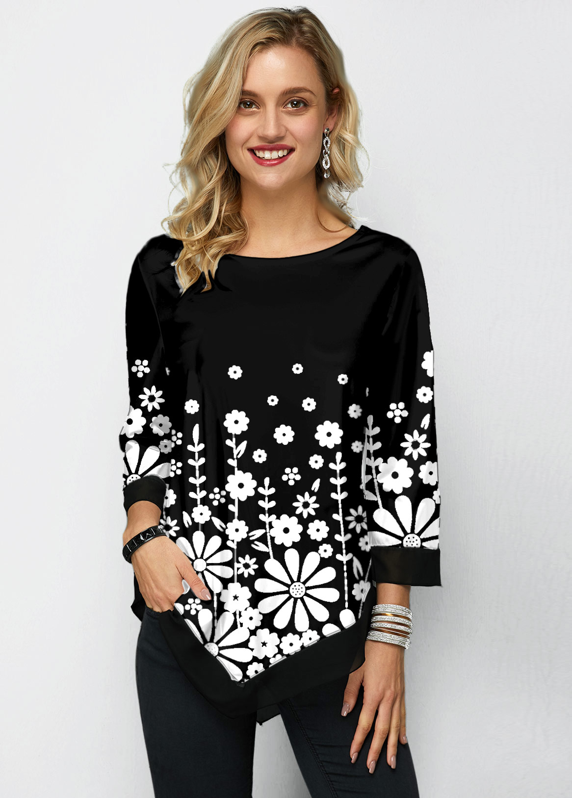 Chiffon Panel Three Quarter Sleeve Printed T Shirt