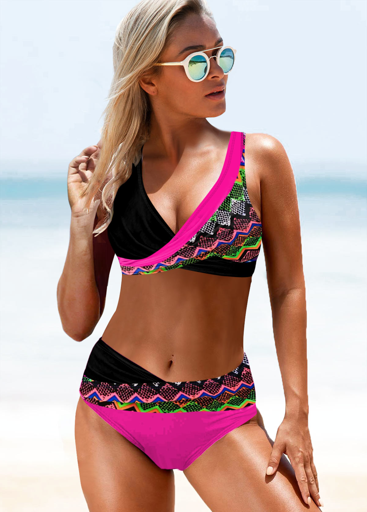 Tribal Print Wide Strap V Neck Bikini Set