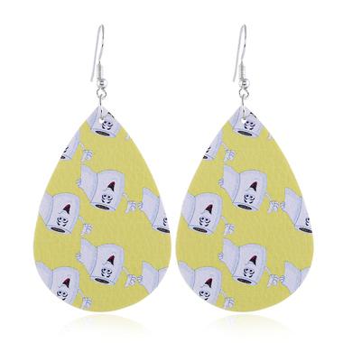Printed Yellow Drop Shape Earrings