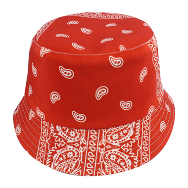 Cashew Nuts Print Red Casual Bucket Hat