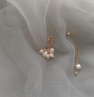 Pearl Embellished White Metal Earrings for Lady