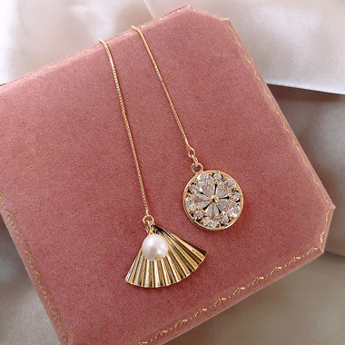 Rhinestone Embellished Fan Shape Gold Metal Earring Set