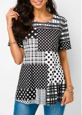 Round Neck Polka Dot Print Plaid Detail T Shirt