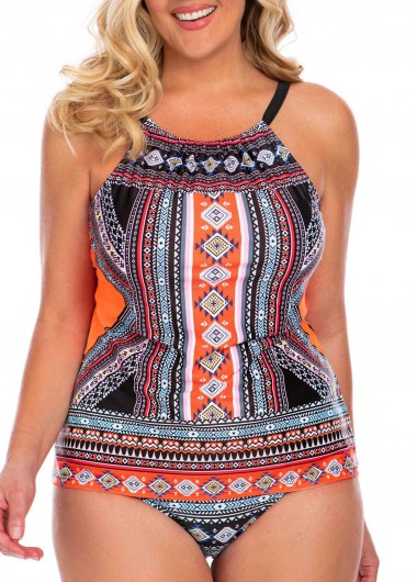 Modlily Women's Printed Multi Color Padded Plus Size Swimsuit - 0X