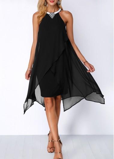 Embellished Neck Asymmetric Hem Black Chiffon Dress - L