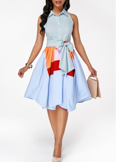 Button Front Sleeveless Asymmetric Hem Belted Dress - L