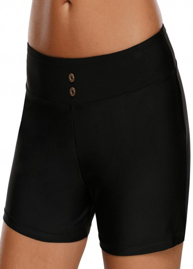 Mid Waist Solid Black Swimwear Shorts - L