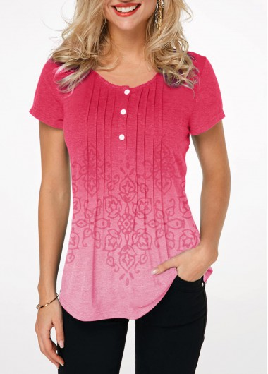 Women's Pink Casual Shirt Crinkle Chest Short Sleeve Ombre T Shirt - L