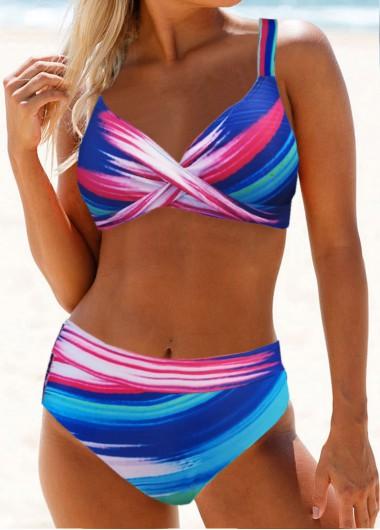 Cross Front Printed High Waist Bikini Set - L