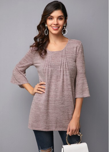 Crinkle Chest Flare Sleeve Round Neck T Shirt - 10