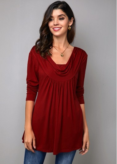 Wine Red Long Sleeve Cowl Neck T Shirt - 10