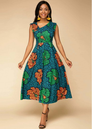 Flower Print Sleeveless High Waist Dress - 10