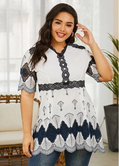 Plus Size Printed Embroidered Short Sleeve Blouse - 3X