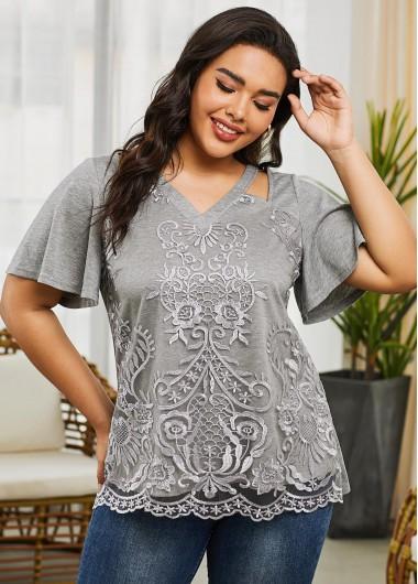 Short Sleeve V Neck Grey Plus Size T Shirt - 1X