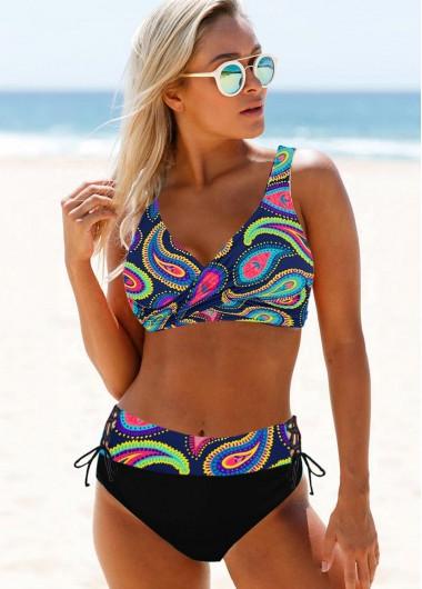 Wide Strap Printed Multi Color Bikini Set - 10