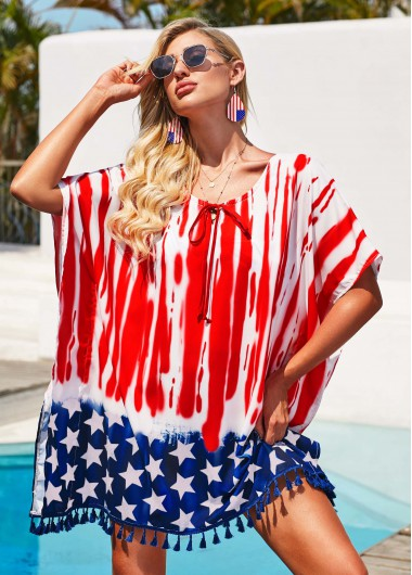 American Flag Print Bowknot Detail Cover Up - M