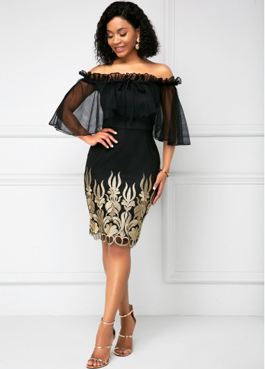 Off the Shoulder Mesh Panel Embroidered Bodycon Dress - L