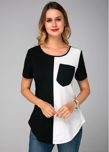 Color Block Round Neck Pocket Soft T Shirt - 10