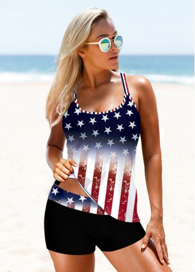Cross Strap American Flag Print Takini Set - 10