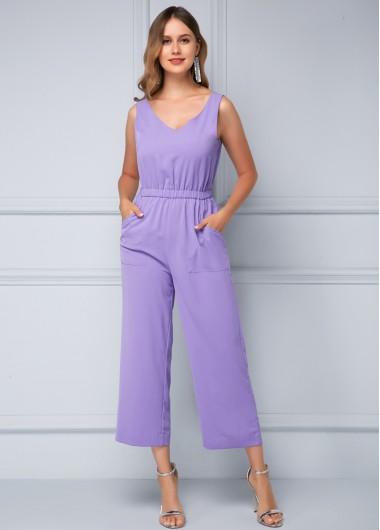 Sleeveless Soft Drawstring Waist Purple Jumpsuit - 10