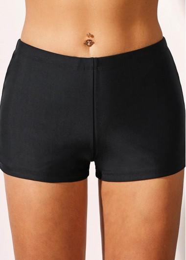 Black Mid Waist Basic Swimwear Shorts - 10