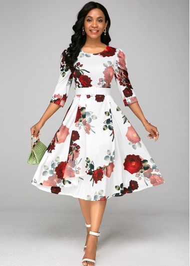 Belted Floral Print A Line Dress - XS
