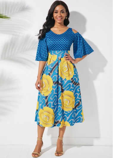Butterfly Sleeve Cold Shoulder Printed Dress - L