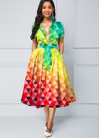 Gradient Tie Waist Rainbow Color Dress - 14