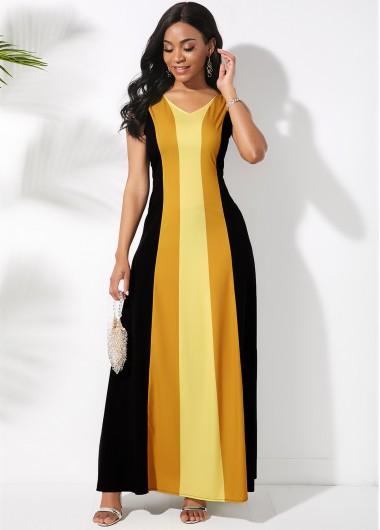 Sleeveless Color Block V Neck Maxi Dress - XL