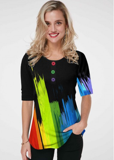 Button Detail Rainbow Color Gradient Printed T Shirt - 10