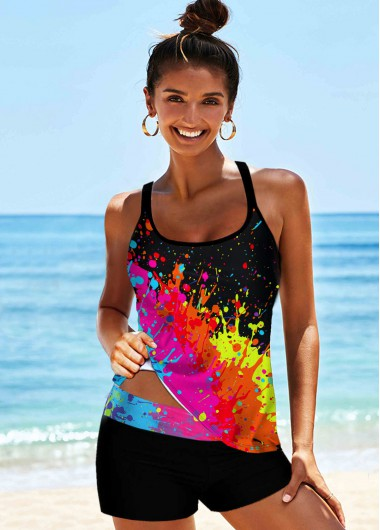 Cross Strap Multi Color Printed Tankini Set - 10