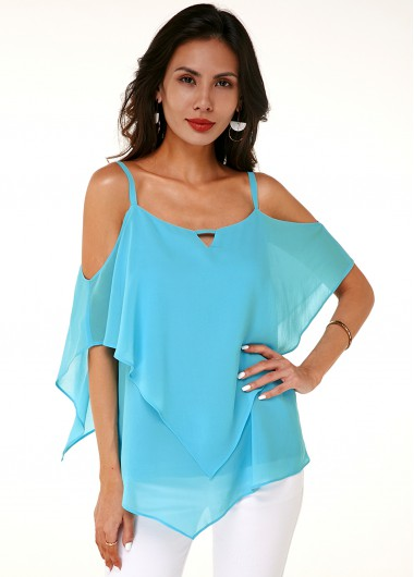 Strappy Cold Shoulder Asymmetric Hem Layered Soft T Shirt - 10