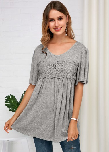 Lace Panel Grey Half Sleeve Soft T Shirt - L