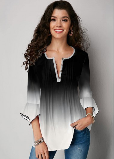 Gradient Flare Sleeve Button Up Blouse - M
