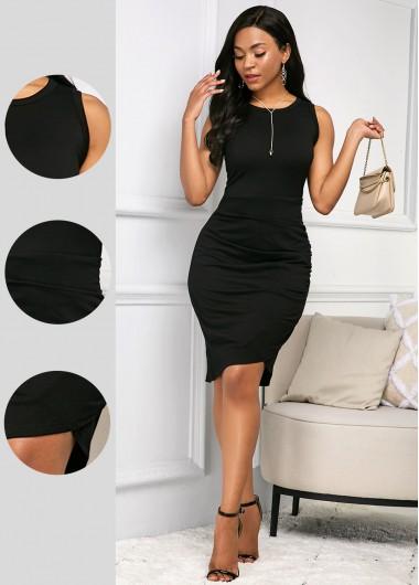 Black Round Neck Short Sleeve Soft Dress - L