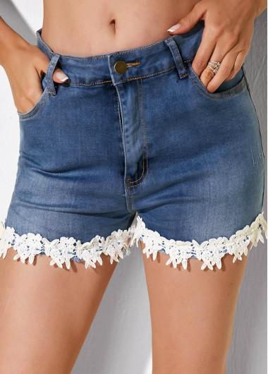 Lace Trim Slant Pocket Denim Shorts - L