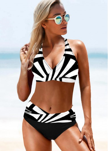 Geometric Print Color Block Halter Bikini Set - L