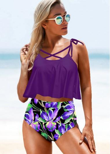 Flower Print Tie Strap Purple High Waist Bikini Set - L