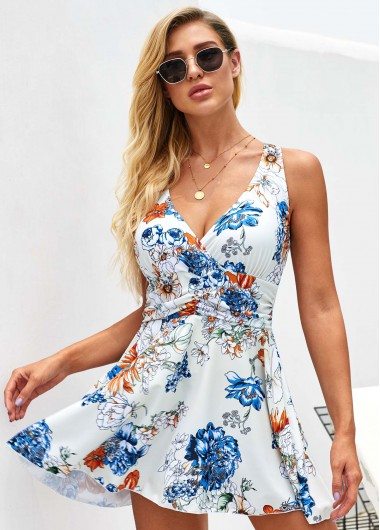 Printed Strappy Back Swimdress and Panty - L