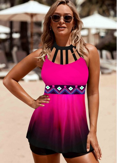 Rose Red Printed Halter Swimdress and Shorts - L