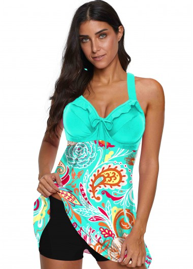 Printed Blue Tie Front Wide Strap Swimdress - L