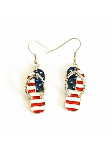 American Flag Print Rhinestone Metal Earrings - One Size