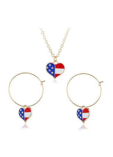 American Flag Print Metal Ring Detail Earrings and Necklace - One Size