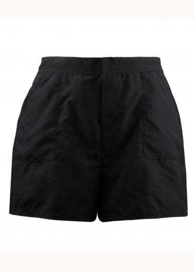 Black Elastic Waist Beach Shorts for Women - 10