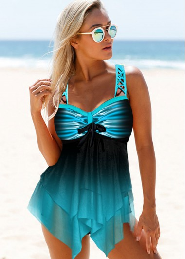 Blue Printed Wide Strap Swimdress and Short - M