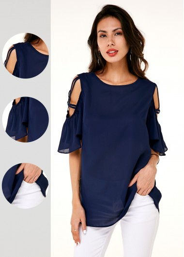 Cold Shoulder Round Neck Half Sleeve T Shirt - L