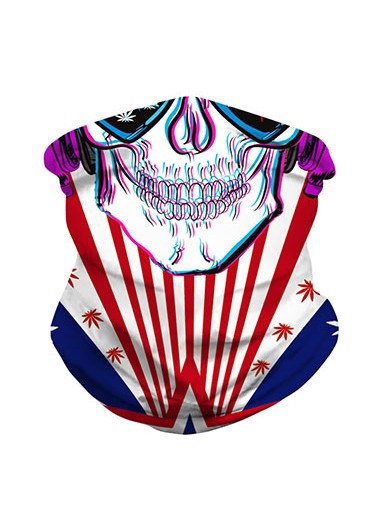 Star American Flag Print Skull Pattern Neck Tube Bandana - One Size